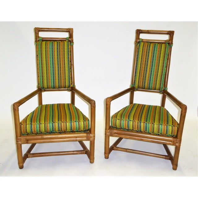 Mid-Century Modern Tommi Parzinger High Back Rattan Armchairs - A Pair For Sale - Image 3 of 13