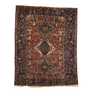 Antique Persian Heriz Rug with Medallion and Cruciform Motif For Sale