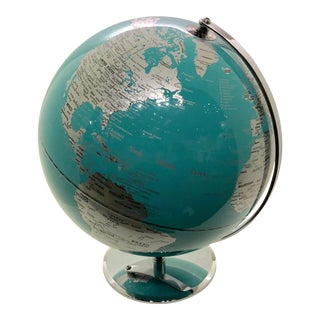 1980s Vintage Turquoise and Chrome World Globe
