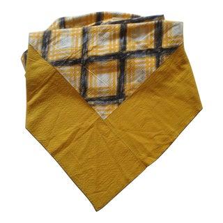 Gold & Black Plaid Tablecloth Seersucker Cotton For Sale