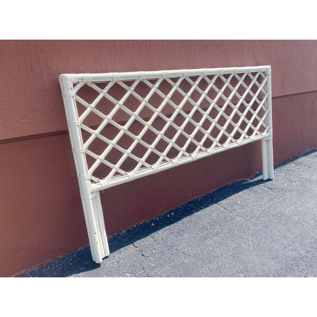 Late 20th Century Vintage King Size Bamboo Lattice Headboard For Sale - Image 5 of 6