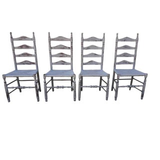1950s Shabby chic Farmhouse Gray Ladder Back Chairs - Set of 4 For Sale