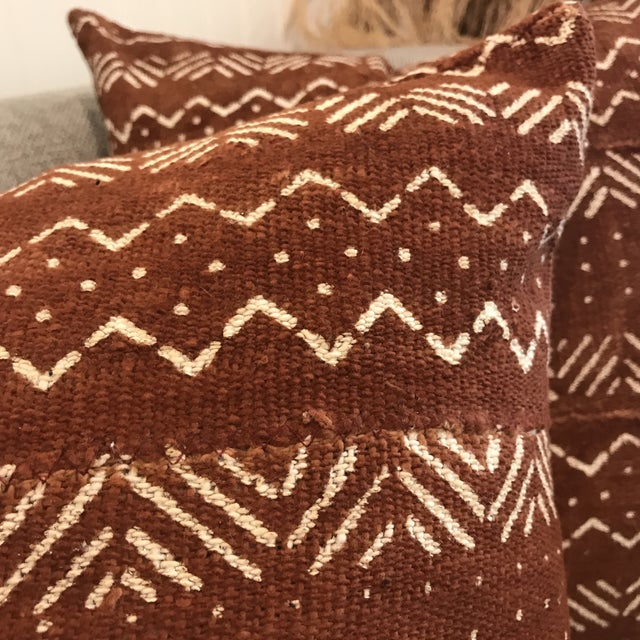 Cinnamon African Mudcloth Throw Pillow For Sale - Image 8 of 10