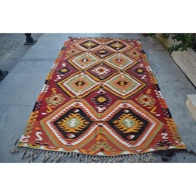"Turkish Kilim Wool Rug - 5'8"" x 10' - Image 2 of 6"
