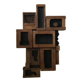 1950s Vintage Geometric Abstract Wooden Wall Sculpture For Sale