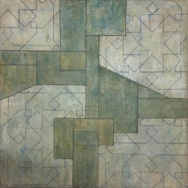 Abstract Ancient/Modern Series Abstract Geometric Oil Painting For Sale - Image 3 of 6
