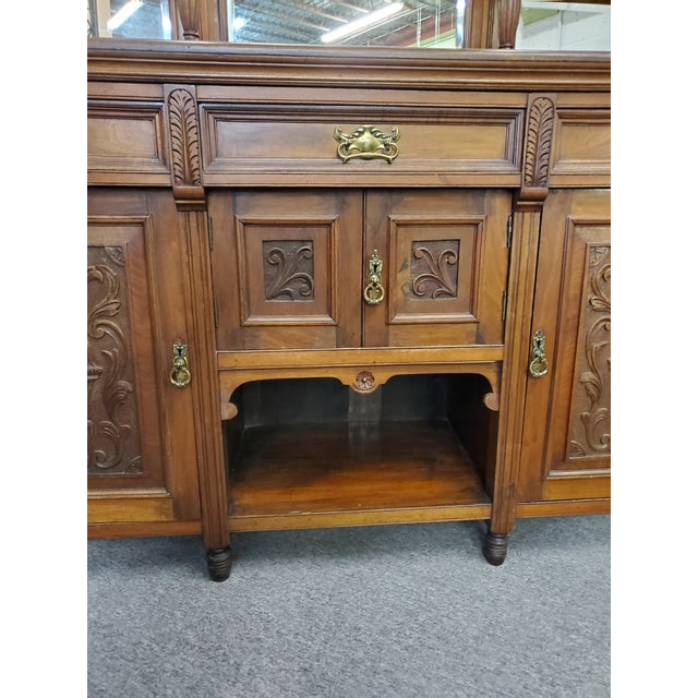 Early 20th Century Antique Hutch With Beveled Mirrors For Sale - Image 4 of 12