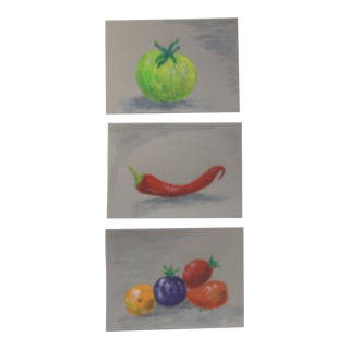 Country Still Life Fresh Vegetables Paitings by Cleo Plowden - Set of 3 For Sale