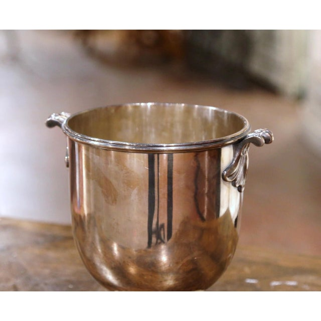 19th Century French Silver Plated Over Brass Champagne or Wine Cooler Bucket For Sale - Image 4 of 8