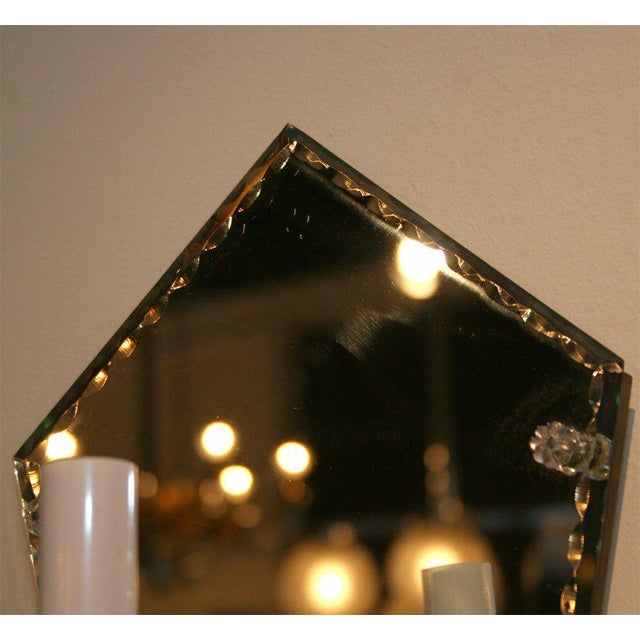 Early 20th Century Pair of 1940's Art Deco Mirrored Pentagon Sconces For Sale - Image 5 of 6