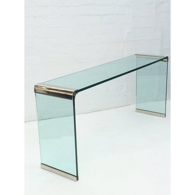1970s Nickel and Glass Console Table by Leon Rosen for Pace Collection For Sale - Image 5 of 7