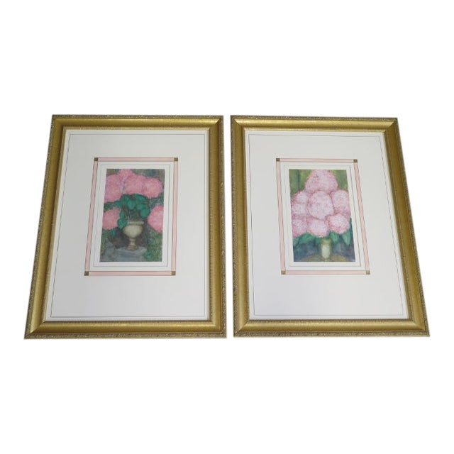 Traditional Gold Framed Signed Floral Prints - a Pair For Sale