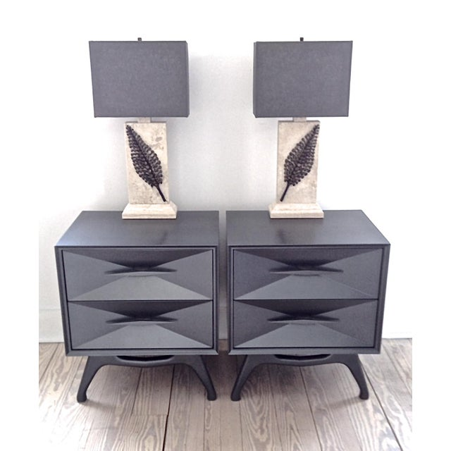 Created c. 1960's by ALBE Fine Furniture, re-imagined by FR Gillette. These matching bedside chests are part of a complete...