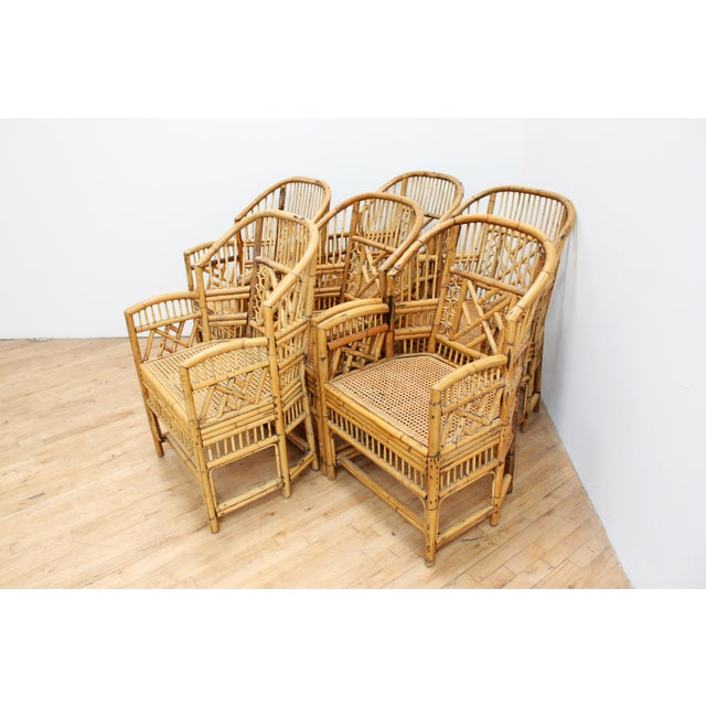 1970s Hand Caned Brighton Pavilion Dining Chairs- Chinese Chippendale Fretwork - Set of 6 For Sale - Image 5 of 8