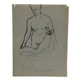 """Vintage Original Drawing on Paper, """"Nude Frontal"""" by Tom Sturges Jr., Circa 1945 For Sale"""
