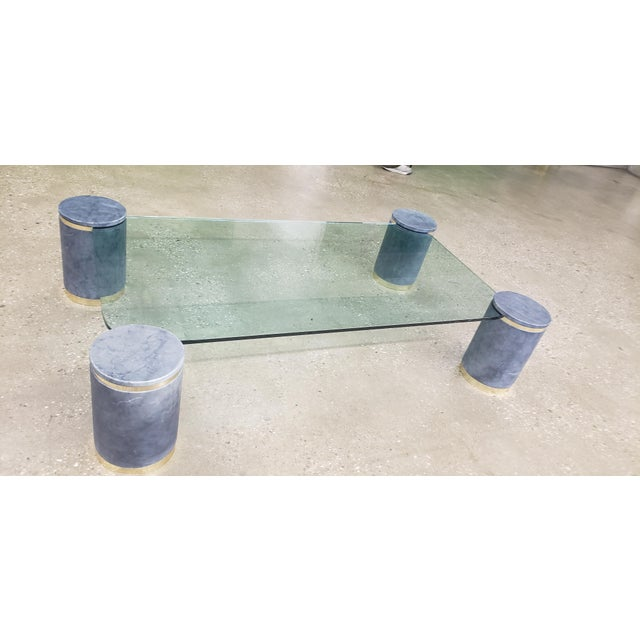 Karl Springer Died Goat Skin & Brass Coffee Table For Sale In New York - Image 6 of 7