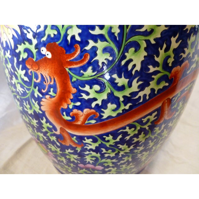 Chinoiserie Garden Stool With Dragon Motif - Image 7 of 8