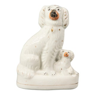 Antique English Staffordshire Spaniel Dog & Pup Figurine For Sale