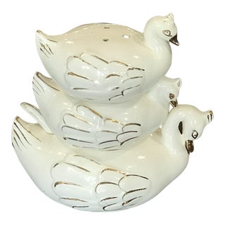 1960s American Classical Stacking Ceramic Swan Shakers - Set of 3 For Sale