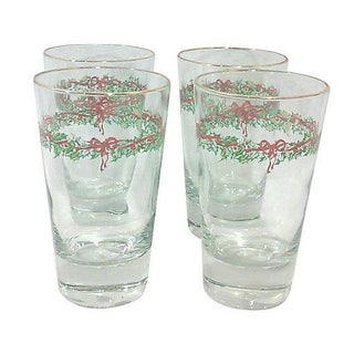 Christmas Holiday Glass Tumblers - Set of 4 For Sale