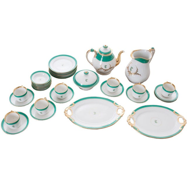 """French 19th Century Old Paris """"T"""" Dessert Service - Set of 33 Pieces For Sale - Image 10 of 10"""