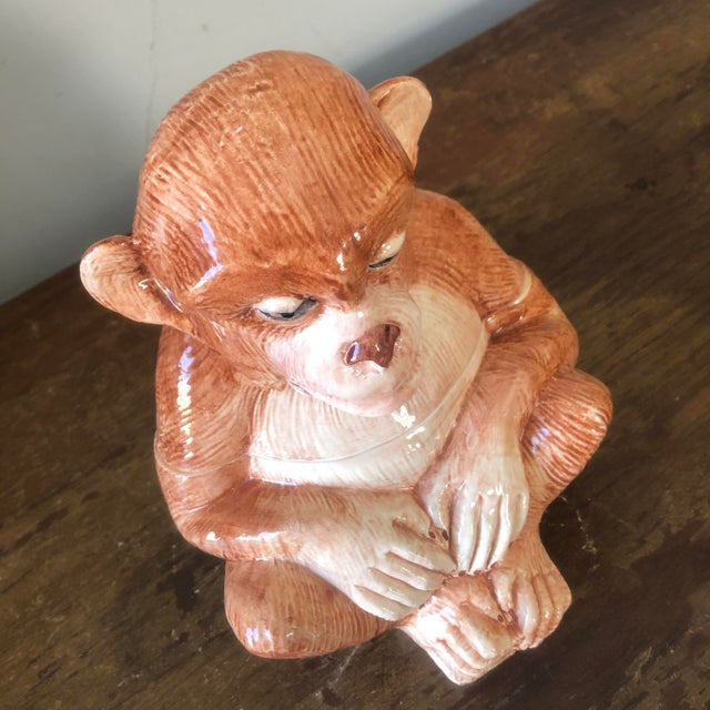 Hollywood Regency Vintage Vietri Italian Pottery Monkey Covered Dish For Sale - Image 3 of 8