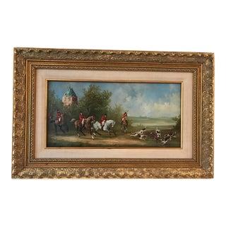 Vintage Mid-Century A. Lerren Fox Hunting Scene Original Oil Painting For Sale