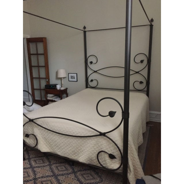 Iron Leaf-Style Canopy Queen Bed - Image 5 of 5