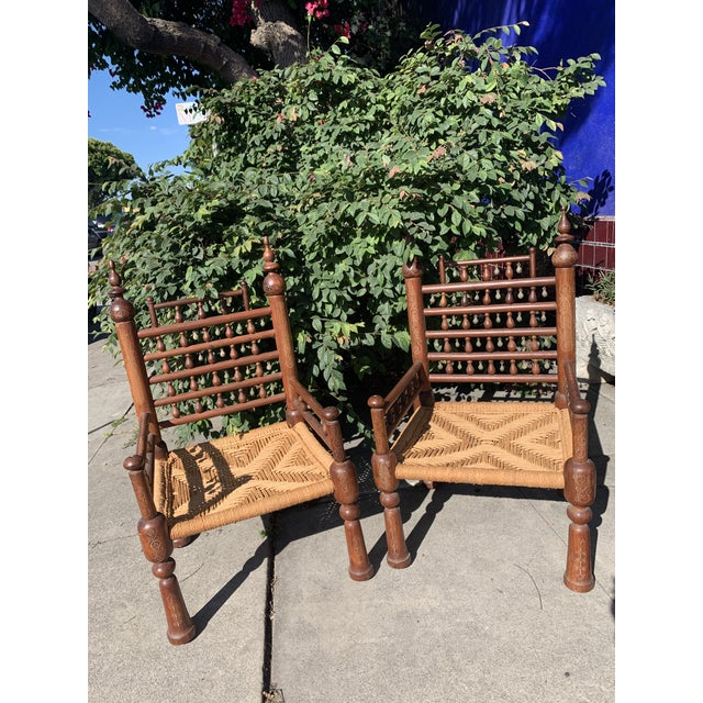 1960s Vintage Painted Anglo-Indian Low Seated Wood Chairs- A Pair For Sale - Image 9 of 9