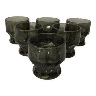 Anchor Hocking Vintage Low-Ball Smoky Black Thumbprint Tumblers - Set of 8 For Sale