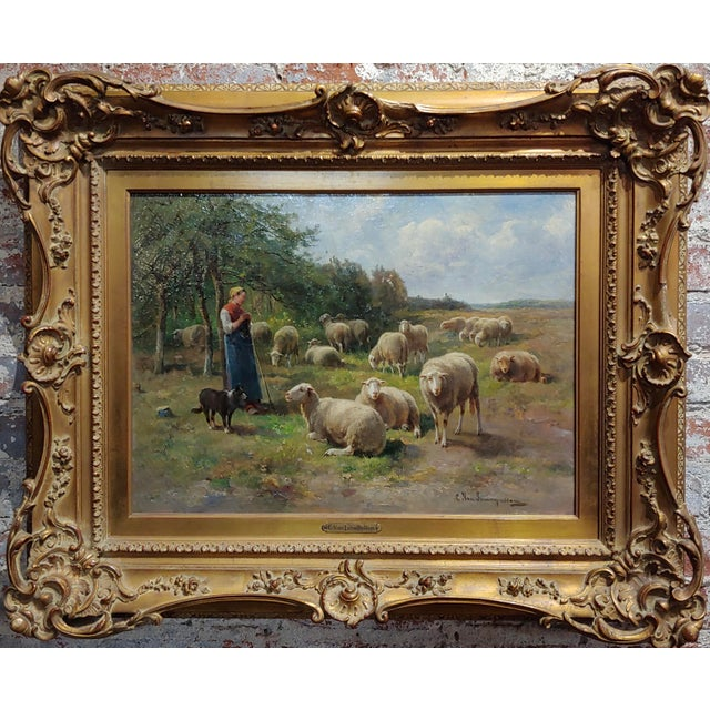 Cornelius van Leemputten-Flock of Sheeps-Beautiful 19th c. Oil painting oil painting on canvas -signed circa 1870s frame...