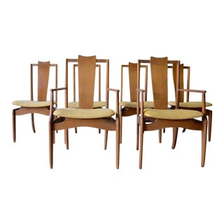 Mid Century Modern Walnut Dining Chairs, Set of 6 For Sale
