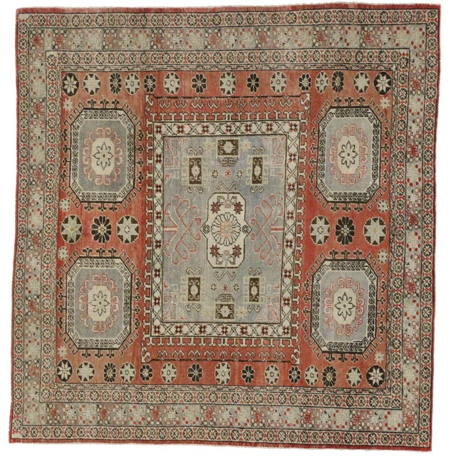 """Distressed Turkish Mid-Century Modern Style Square Rug - 4'3"""" x 4'5"""" - Image 1 of 7"""