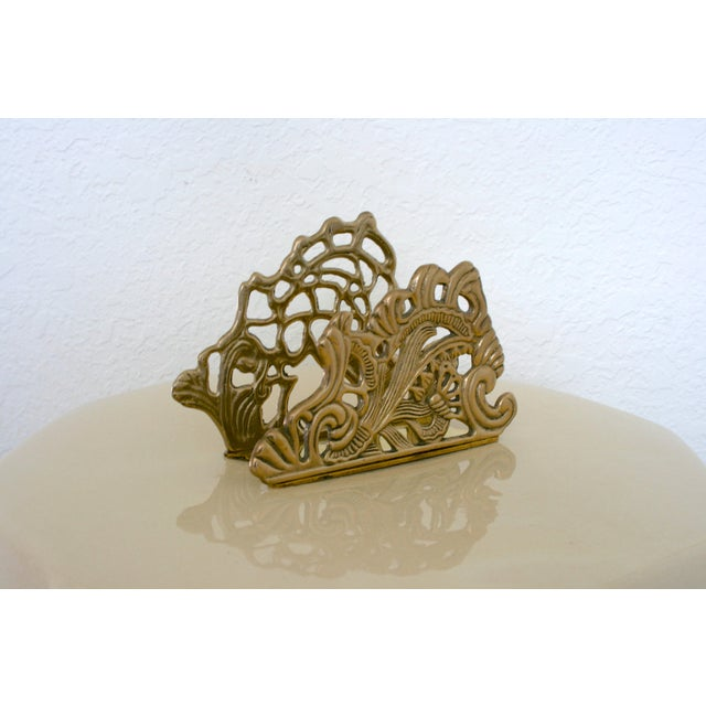 Vintage Brass Teleflora Letter / Napkin Holder For Sale - Image 4 of 9