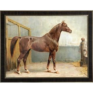 Hanoverian Horse by Eerelman Framed in Italian Wood Vener Moulding For Sale