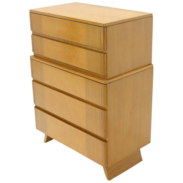 Five Drawers Blond to Gold Mahogany Saarinen High Chest Dresser For Sale