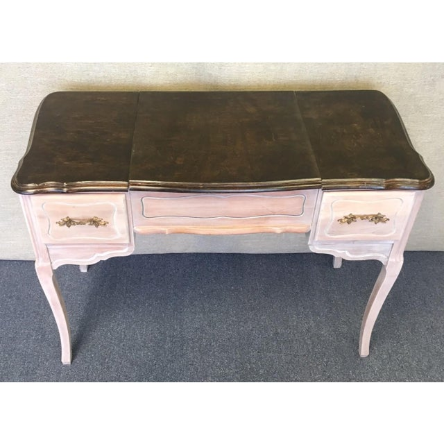 """Vintage 1940's Faux Beach Aged Vanity. Double side drawers and lift top storage with round beveled edge mirror. Go to """"Ask..."""