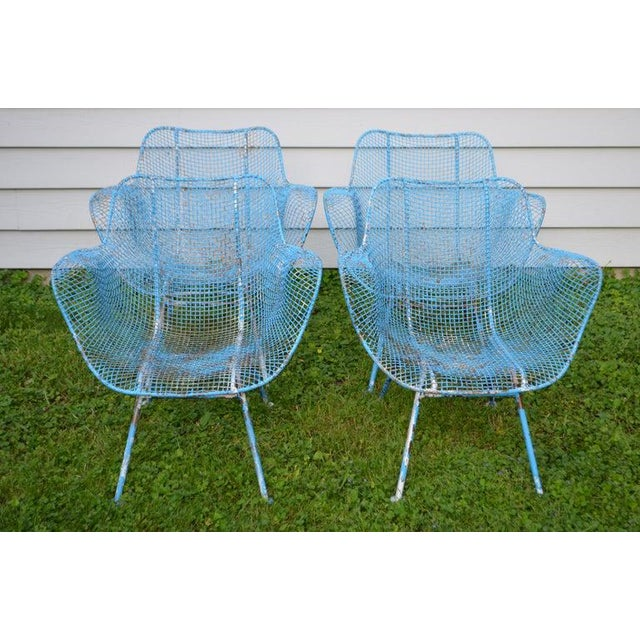 Cottage Russell Woodard Sculptura Wire Patio Chairs, Set of 4, in As-Found Sea Sky Blue For Sale - Image 3 of 13