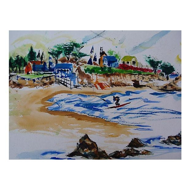 Vintage Laguna Beach Cove Watercolor Painting - Image 3 of 3