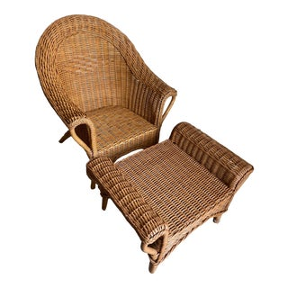 Vintage Palecek HIgh Back Woven Wicker Chair and Matching Wicker Ottoman For Sale