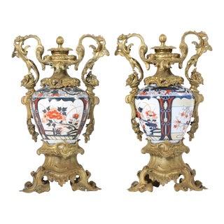 19th Century Pair / Gilt Bronze Mounted Imari Porcelain Vases For Sale