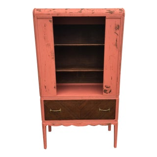 Shabby Chic Distressed Pink Wood Hutch