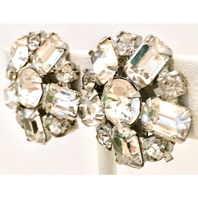 1950'S Silver & Austrian Crystal Clear Rhinestone Abstract Flower Earrings By, Weiss. These brilliant crystal rhinestone...