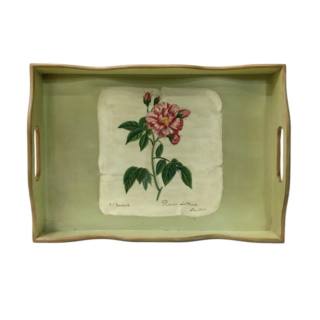 Vintage Rectangular Wooden Tray For Sale