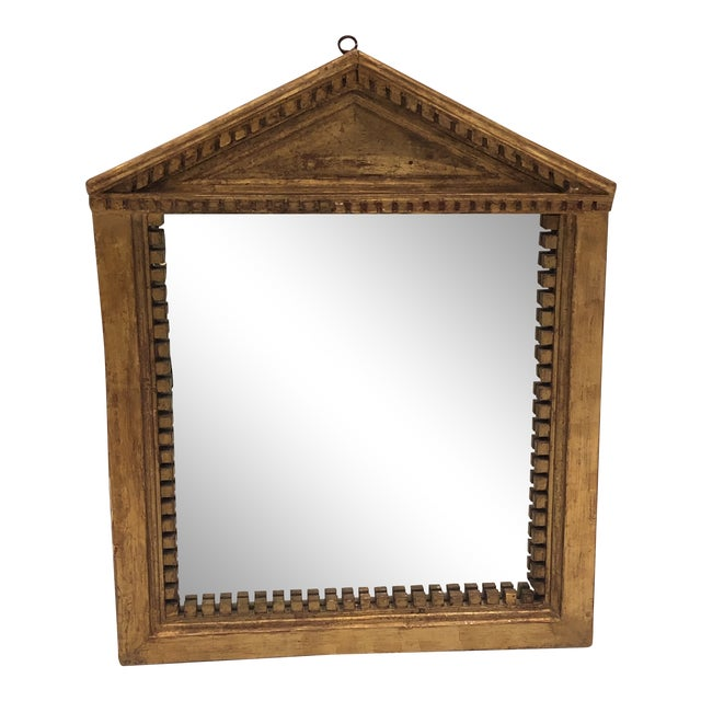 Antique George III Style Pedimented Giltwood Mirror For Sale