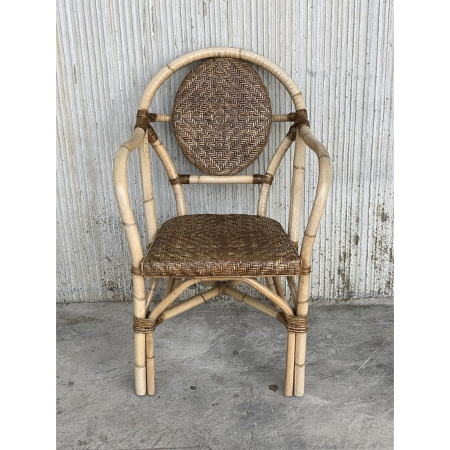 Wood 1960s Pair of Spanish Bamboo Armchairs With Ovaled Back Rest For Sale - Image 7 of 10