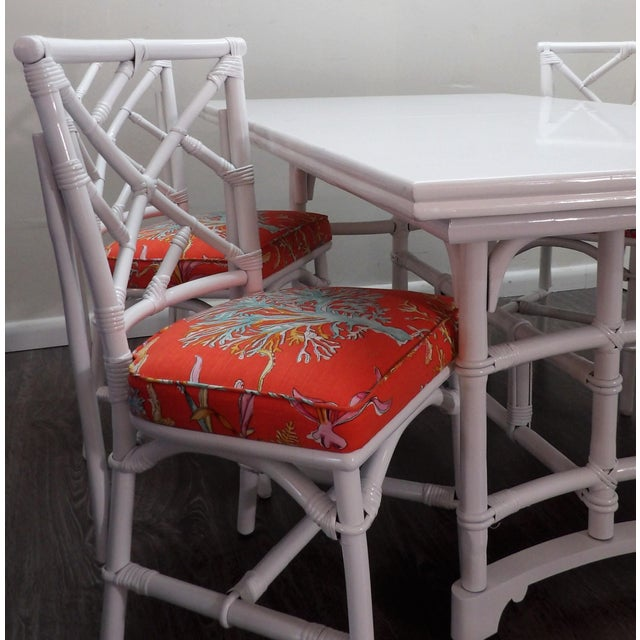 Chinoiserie, Wrapped Bamboo Dining Set - 5 Pieces For Sale - Image 11 of 13