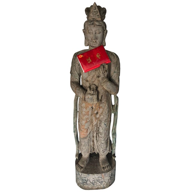 Lacquer Chinese Guan Yin Wooden Statue For Sale - Image 7 of 7