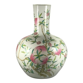 Antique Chinese Famille Rose 'Nine-Peach' Porcelain Tianqiu Vase For Sale