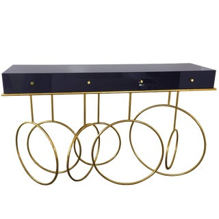 Brass and Lucite Console Table by Amparo Calderon Tapia For Sale